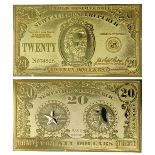 Billete 20 Dólares Fallout Chapado Oro Ed Limitada
